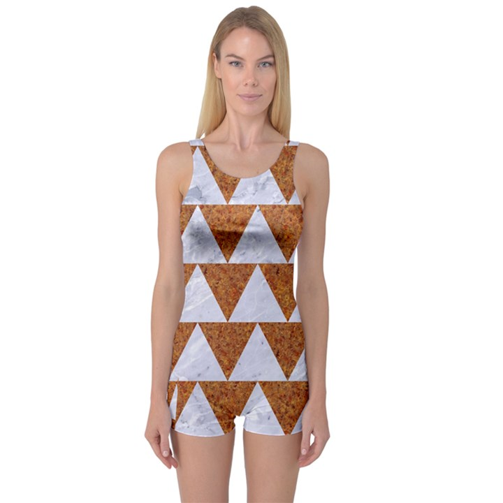 TRIANGLE2 WHITE MARBLE & RUSTED METAL One Piece Boyleg Swimsuit