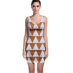 Triangle2 White Marble & Rusted Metal Bodycon Dress