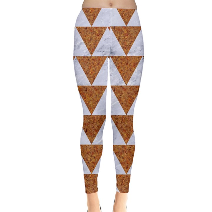 TRIANGLE2 WHITE MARBLE & RUSTED METAL Leggings
