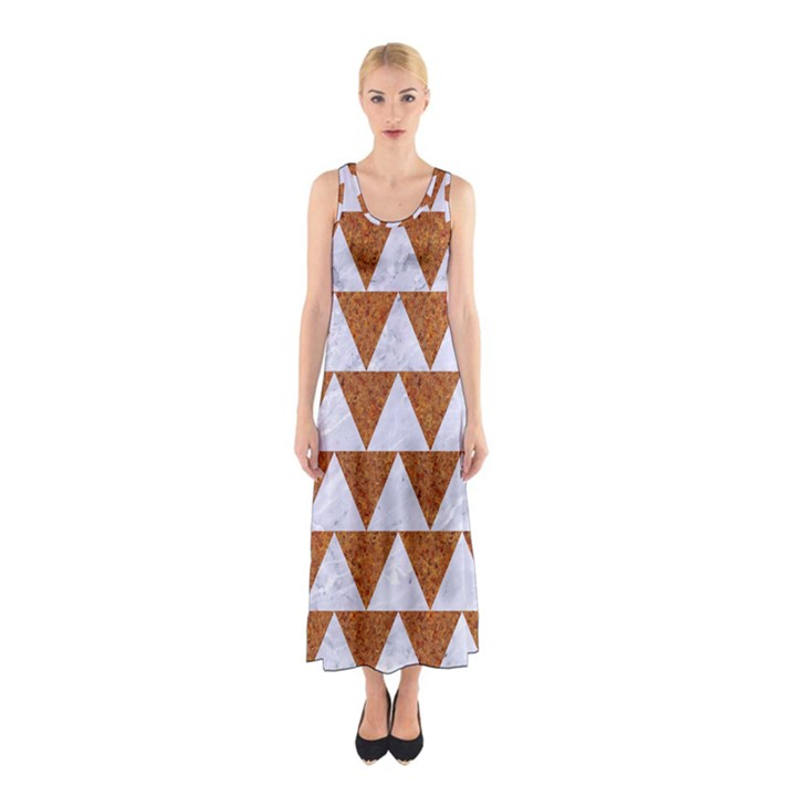 TRIANGLE2 WHITE MARBLE & RUSTED METAL Sleeveless Maxi Dress