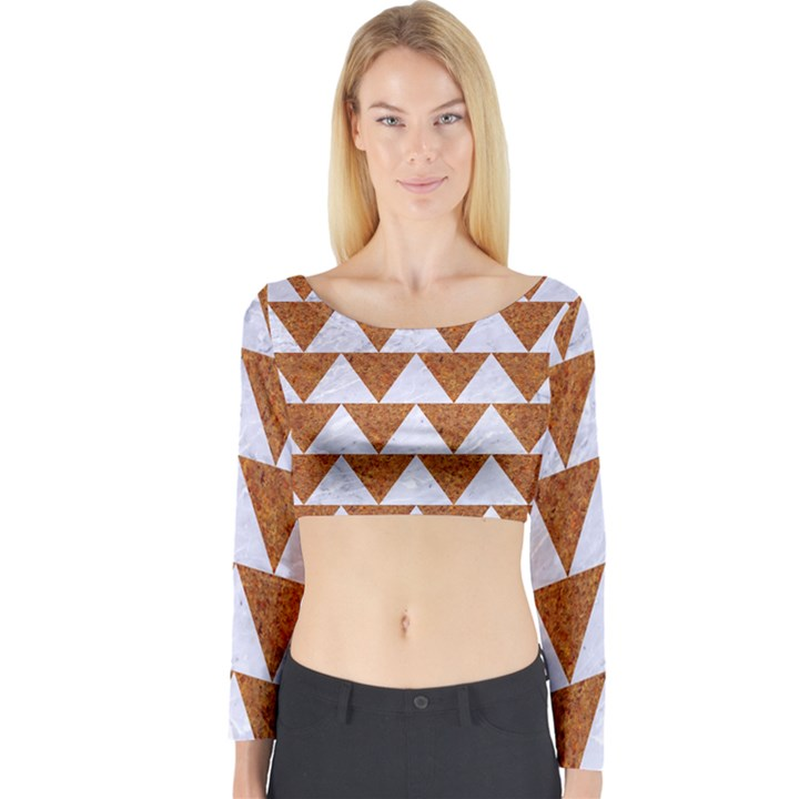 TRIANGLE2 WHITE MARBLE & RUSTED METAL Long Sleeve Crop Top