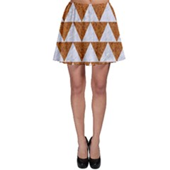Triangle2 White Marble & Rusted Metal Skater Skirt