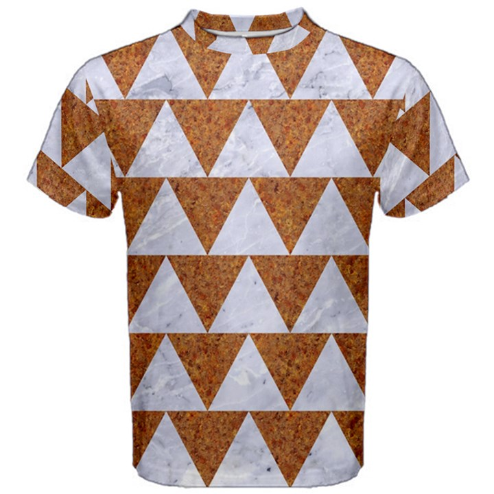 TRIANGLE2 WHITE MARBLE & RUSTED METAL Men s Cotton Tee