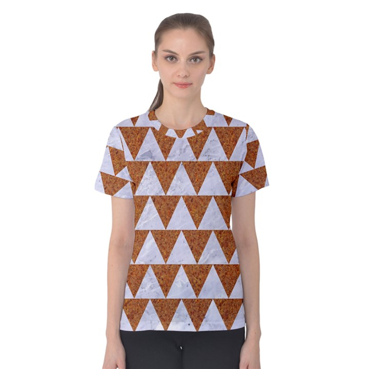 TRIANGLE2 WHITE MARBLE & RUSTED METAL Women s Cotton Tee