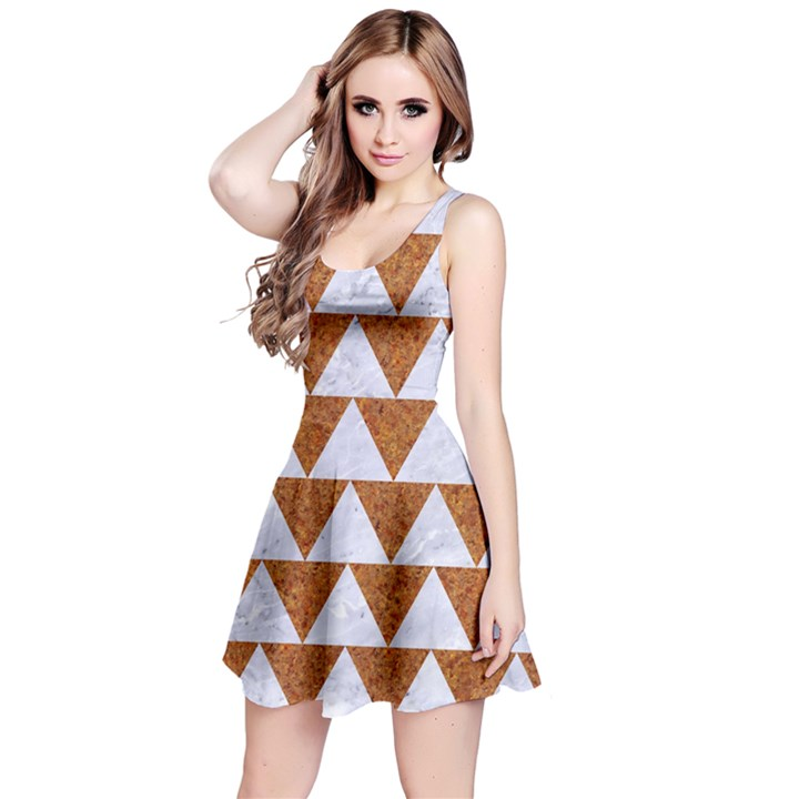 TRIANGLE2 WHITE MARBLE & RUSTED METAL Reversible Sleeveless Dress