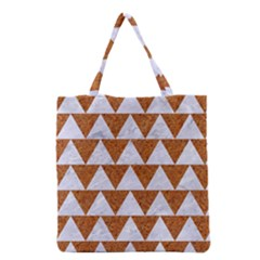Triangle2 White Marble & Rusted Metal Grocery Tote Bag