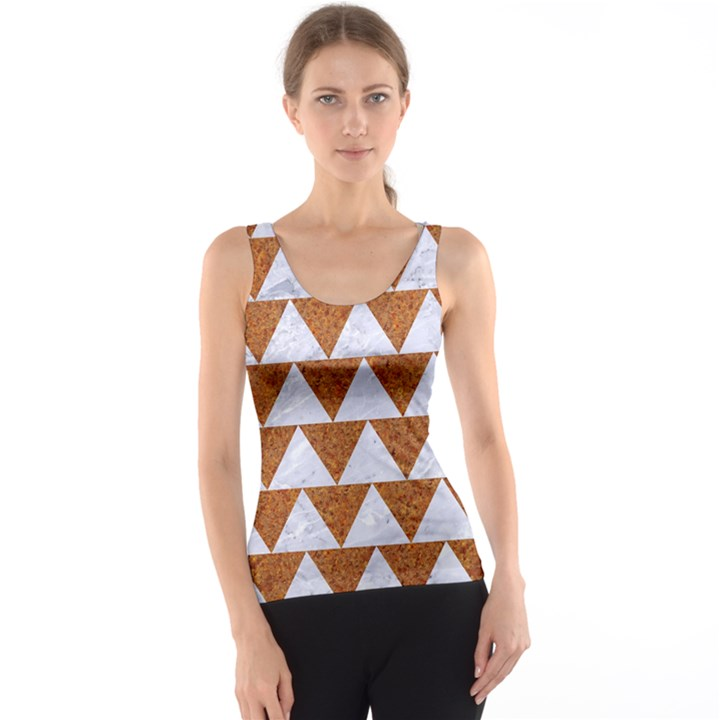 TRIANGLE2 WHITE MARBLE & RUSTED METAL Tank Top