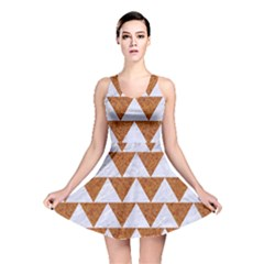 Triangle2 White Marble & Rusted Metal Reversible Skater Dress