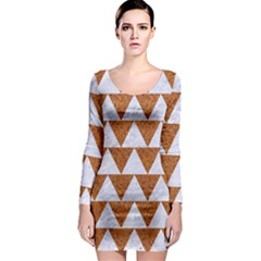 Triangle2 White Marble & Rusted Metal Long Sleeve Bodycon Dress