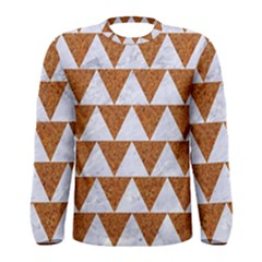 Triangle2 White Marble & Rusted Metal Men s Long Sleeve Tee