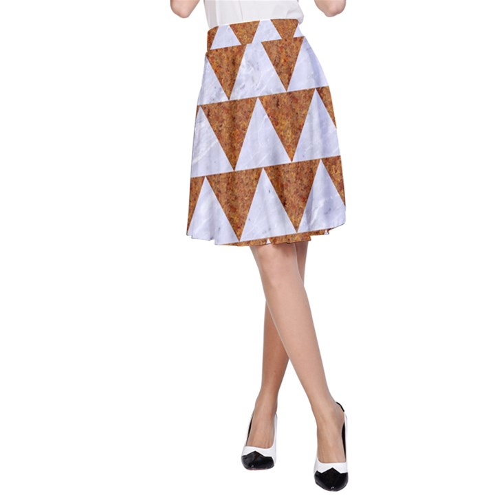 TRIANGLE2 WHITE MARBLE & RUSTED METAL A-Line Skirt