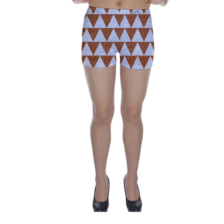 TRIANGLE2 WHITE MARBLE & RUSTED METAL Skinny Shorts