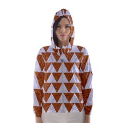 Triangle2 White Marble & Rusted Metal Hooded Wind Breaker (women)