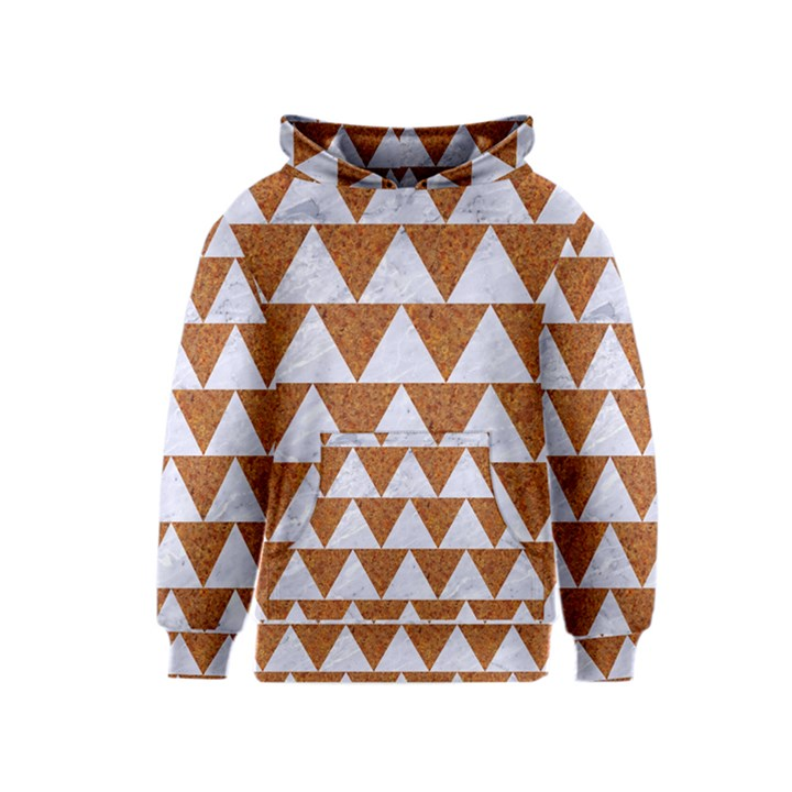 TRIANGLE2 WHITE MARBLE & RUSTED METAL Kids  Pullover Hoodie