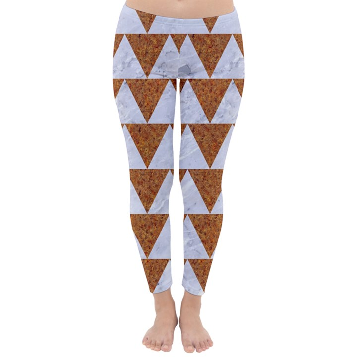 TRIANGLE2 WHITE MARBLE & RUSTED METAL Classic Winter Leggings