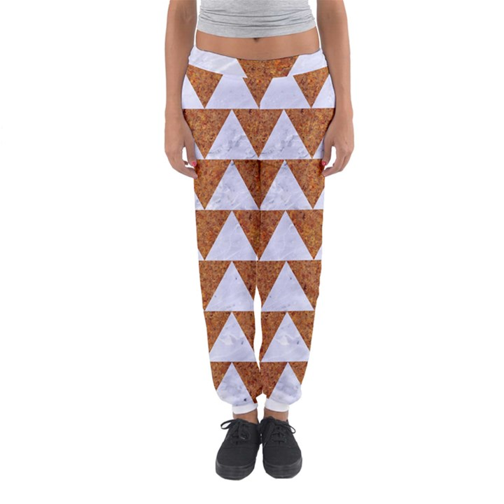 TRIANGLE2 WHITE MARBLE & RUSTED METAL Women s Jogger Sweatpants