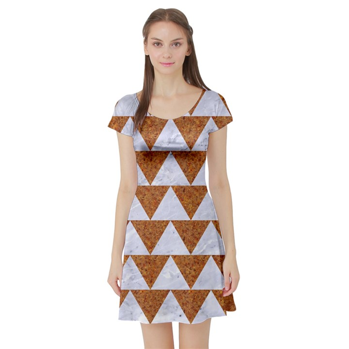 TRIANGLE2 WHITE MARBLE & RUSTED METAL Short Sleeve Skater Dress