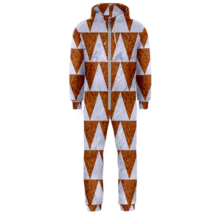 TRIANGLE2 WHITE MARBLE & RUSTED METAL Hooded Jumpsuit (Men)