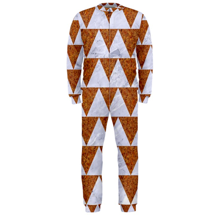 TRIANGLE2 WHITE MARBLE & RUSTED METAL OnePiece Jumpsuit (Men)