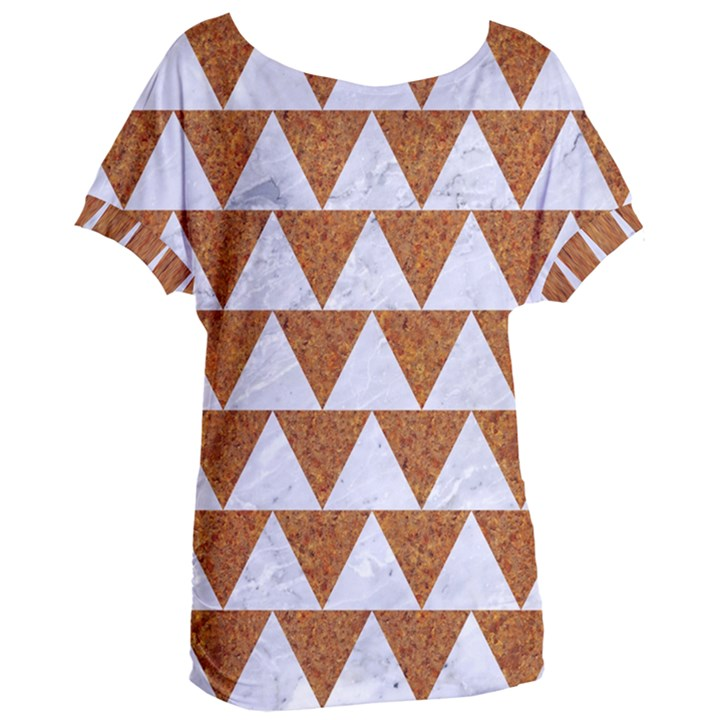 TRIANGLE2 WHITE MARBLE & RUSTED METAL Women s Oversized Tee