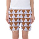 TRIANGLE2 WHITE MARBLE & RUSTED METAL Women s Basketball Shorts View1