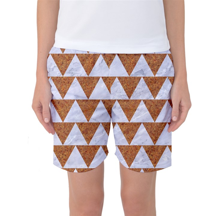 TRIANGLE2 WHITE MARBLE & RUSTED METAL Women s Basketball Shorts