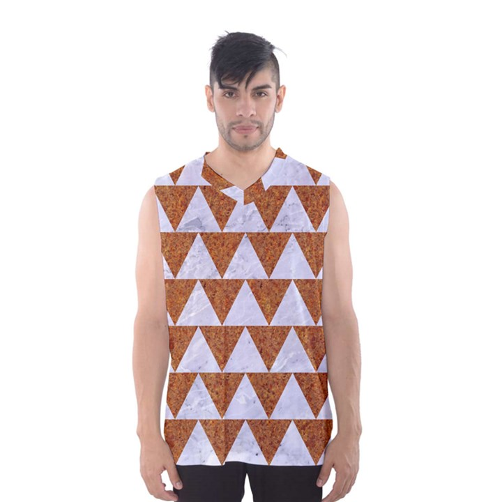 TRIANGLE2 WHITE MARBLE & RUSTED METAL Men s Basketball Tank Top
