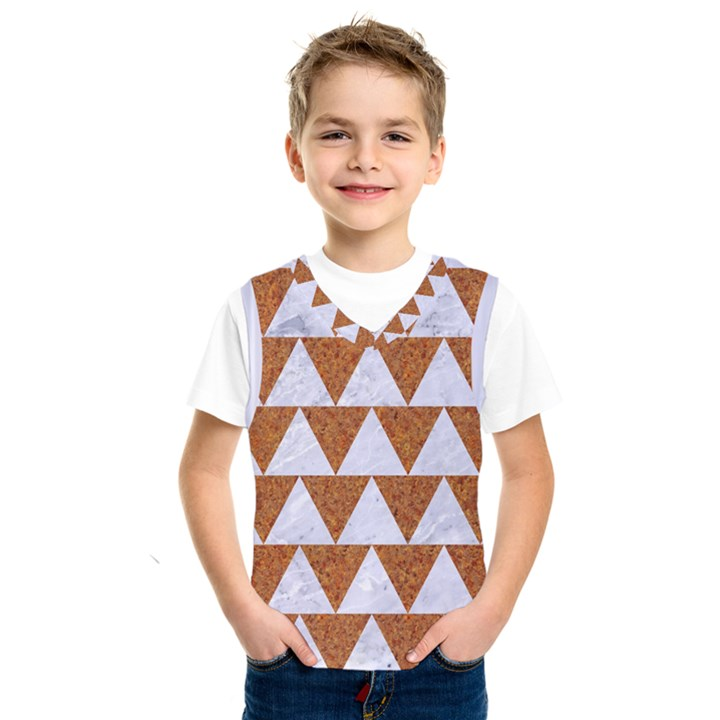 TRIANGLE2 WHITE MARBLE & RUSTED METAL Kids  SportsWear