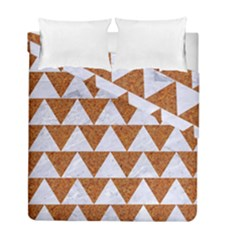 Triangle2 White Marble & Rusted Metal Duvet Cover Double Side (full/ Double Size)