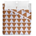 TRIANGLE2 WHITE MARBLE & RUSTED METAL Duvet Cover Double Side (Queen Size) View1