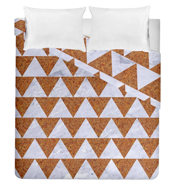 TRIANGLE2 WHITE MARBLE & RUSTED METAL Duvet Cover Double Side (Queen Size)