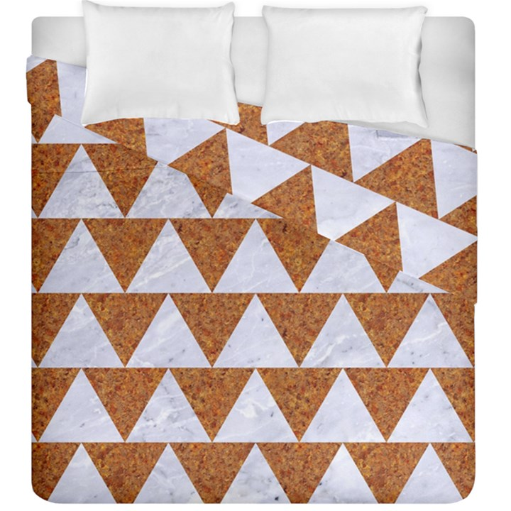 TRIANGLE2 WHITE MARBLE & RUSTED METAL Duvet Cover Double Side (King Size)