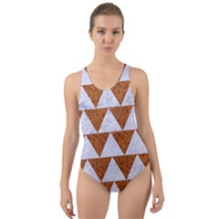 Triangle2 White Marble & Rusted Metal Cut Out Back One Piece Swimsuit