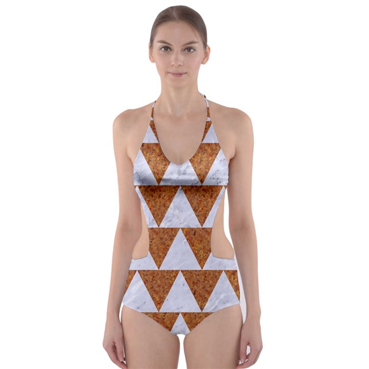 TRIANGLE2 WHITE MARBLE & RUSTED METAL Cut-Out One Piece Swimsuit