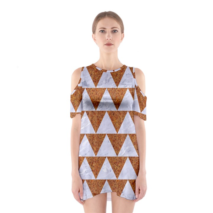 TRIANGLE2 WHITE MARBLE & RUSTED METAL Shoulder Cutout One Piece