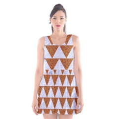 Triangle2 White Marble & Rusted Metal Scoop Neck Skater Dress