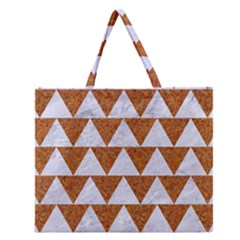 Triangle2 White Marble & Rusted Metal Zipper Large Tote Bag