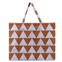 TRIANGLE2 WHITE MARBLE & RUSTED METAL Zipper Large Tote Bag View1