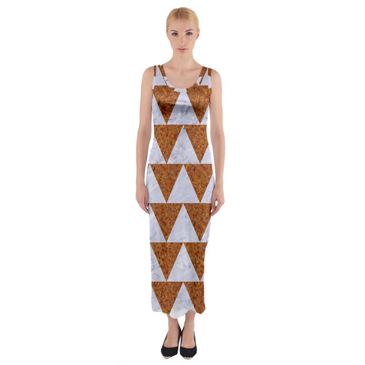 TRIANGLE2 WHITE MARBLE & RUSTED METAL Fitted Maxi Dress