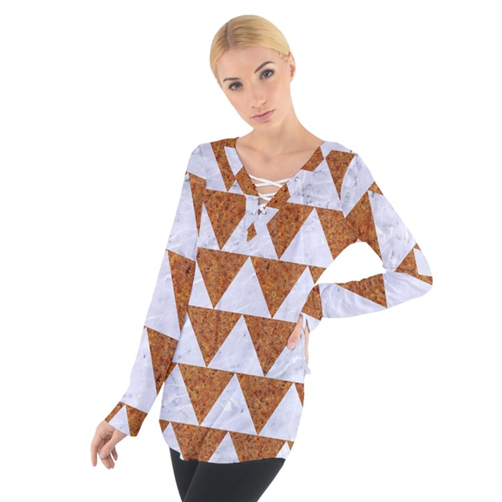 TRIANGLE2 WHITE MARBLE & RUSTED METAL Tie Up Tee
