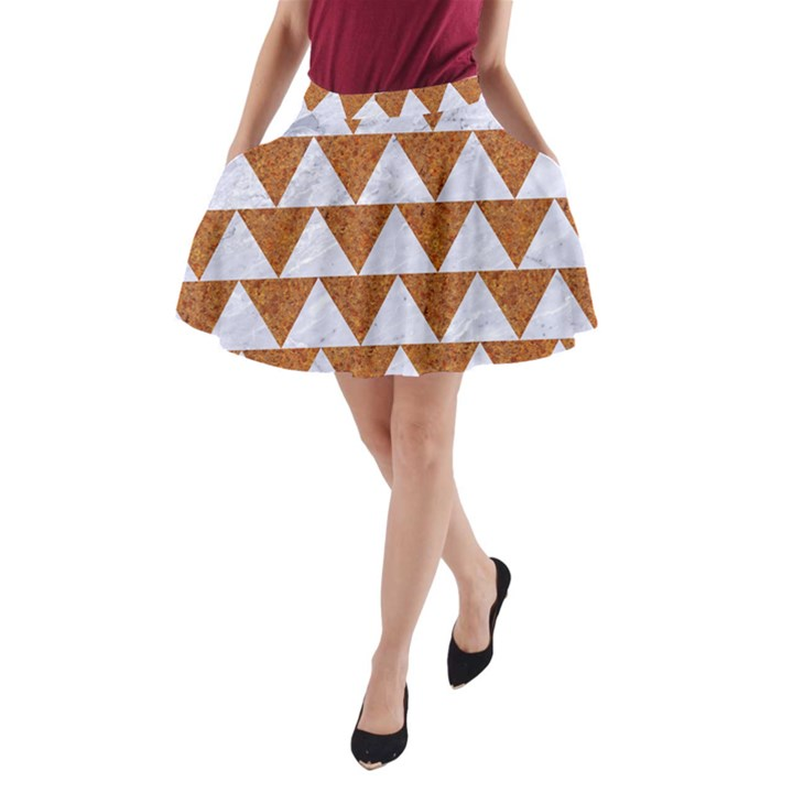 TRIANGLE2 WHITE MARBLE & RUSTED METAL A-Line Pocket Skirt