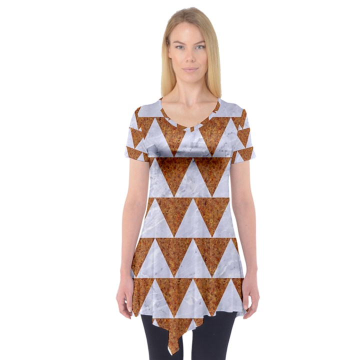 TRIANGLE2 WHITE MARBLE & RUSTED METAL Short Sleeve Tunic