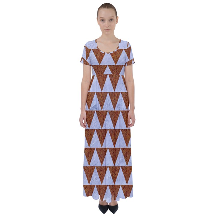 TRIANGLE2 WHITE MARBLE & RUSTED METAL High Waist Short Sleeve Maxi Dress