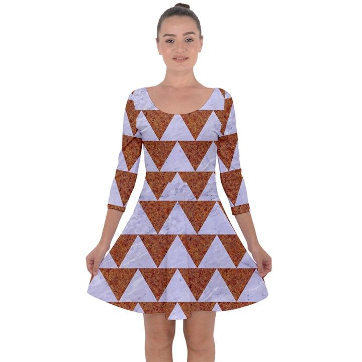 TRIANGLE2 WHITE MARBLE & RUSTED METAL Quarter Sleeve Skater Dress
