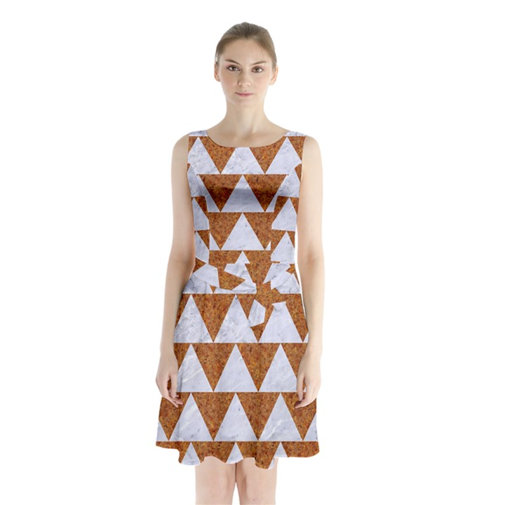 TRIANGLE2 WHITE MARBLE & RUSTED METAL Sleeveless Waist Tie Chiffon Dress
