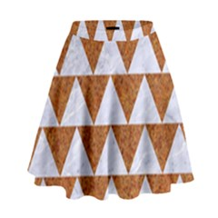 Triangle2 White Marble & Rusted Metal High Waist Skirt