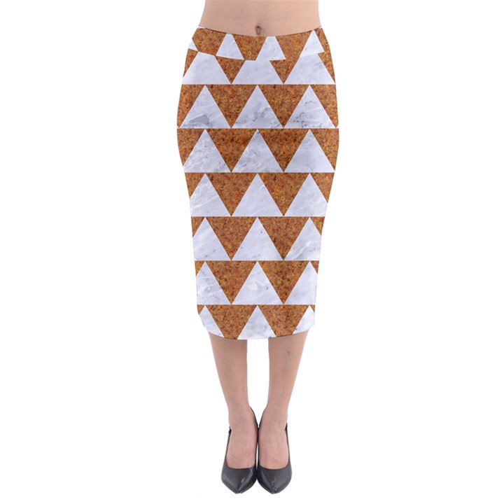 TRIANGLE2 WHITE MARBLE & RUSTED METAL Midi Pencil Skirt