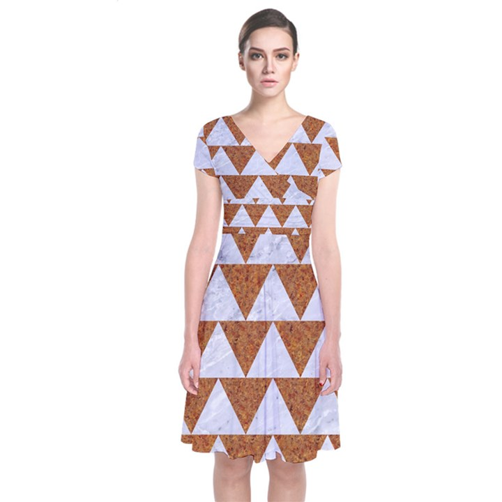 TRIANGLE2 WHITE MARBLE & RUSTED METAL Short Sleeve Front Wrap Dress
