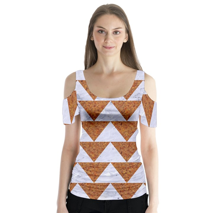 TRIANGLE2 WHITE MARBLE & RUSTED METAL Butterfly Sleeve Cutout Tee