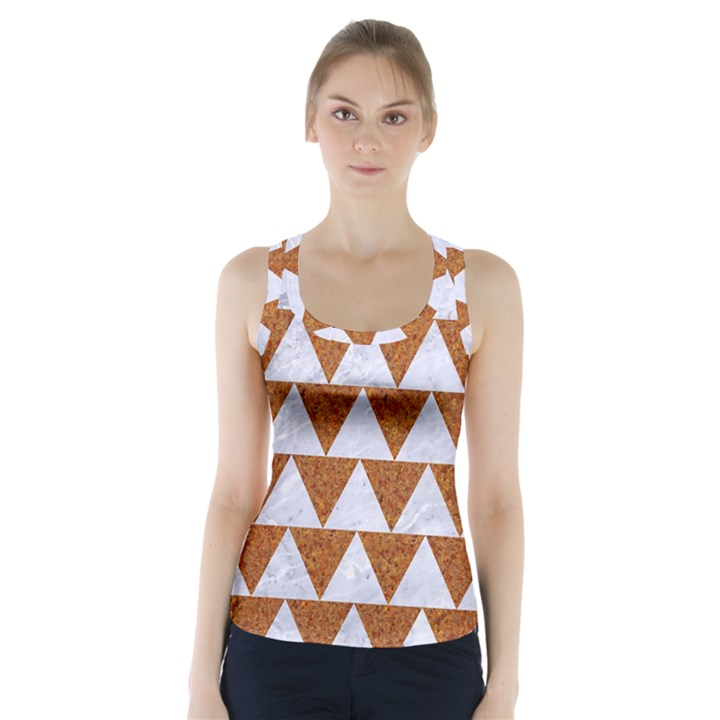 TRIANGLE2 WHITE MARBLE & RUSTED METAL Racer Back Sports Top